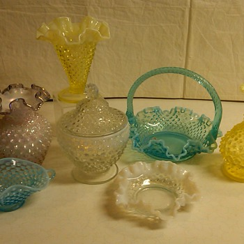 RARE FENTON TOPAZ OPALESCENT HOBNAIL VASE MEANT TO BE A LAMP - Glassware