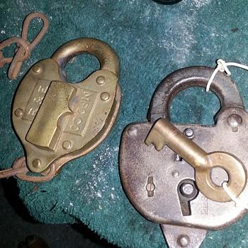 antique pad locks bronze and color