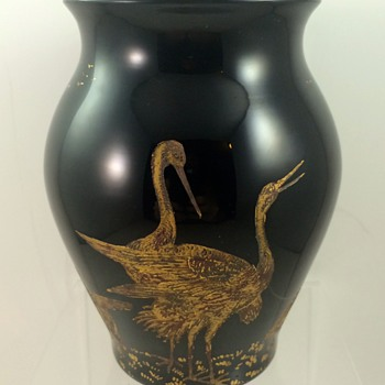 "Moser Black ""Hyalit"" vase designed by Rudolf Wels, ca. 1922 - Art Glass"