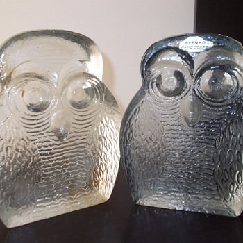 Blenko owl bookends