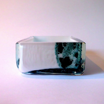 Seguso Little white Bowl with Oxides - Art Glass