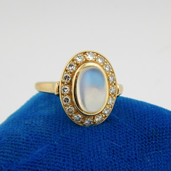 Antique Victorian Ceylon Moonstone Diamond 14k Ring - Fine Jewelry