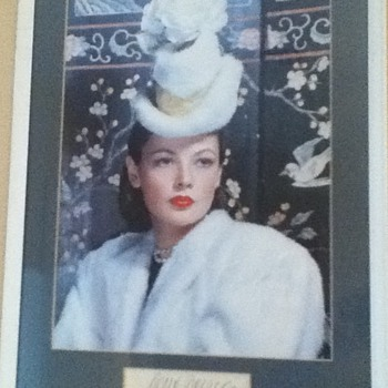 Autographed Gene Tierney Still