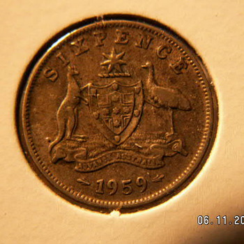 1959 Australia Six Pence - World Coins