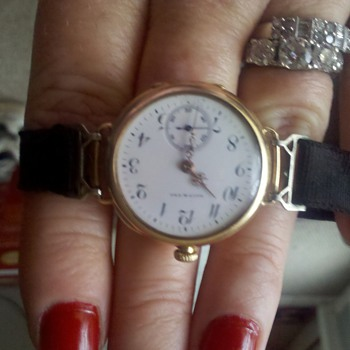 Family Heirloom.1910 Galt &amp; Bros. Ladies Gold watch, Ruby jeweled with original ribbon band and sterling clasp.