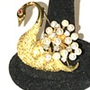 18k Golden Swan with a Spray of Diamonds and Pearls