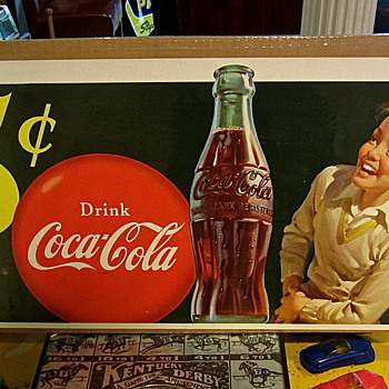 1950 Paper Coca Cola window sign - Coca-Cola