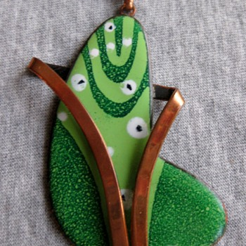 Matisse? Unmarked - Freeform copper enamel pendant