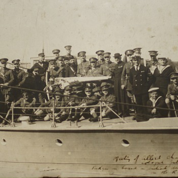 Allied Chaplins Photograph 1921 On British Destroyer - Photographs