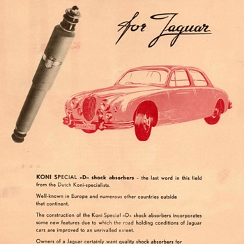 "1958 - KONI Shocks for Jaguar"" Advertisement Flyer - Advertising"