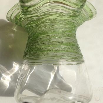 Threaded glass small vase - Art Glass