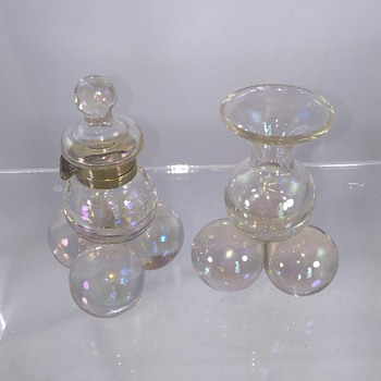 Harrach Crystal Iridescent Tri Ball Footed Inkwell & Vase Pair  - Art Glass