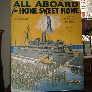 Sheet Music Cover...All Aboard For Home Sweet Home...Sign By One Of The Prolific Starmer Brothers - Music