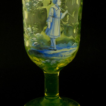 Mary Gregory Vaseline Glass (Uranium) Chalice