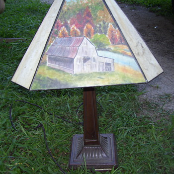 glass hand painted lamp - Lamps