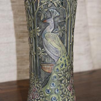 Weller Peacock Vase - Art Pottery