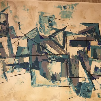 Abstract oil painting - Mid-Century Modern