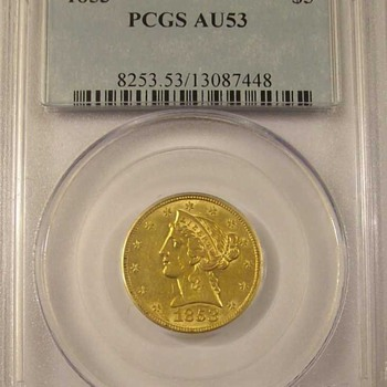 1853 $5 Gold Piece AKA &quot;Half Eagle&quot; Type One - US Coins