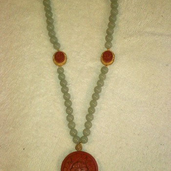 Vintage Jade Cinnabar Necklace  - Fine Jewelry