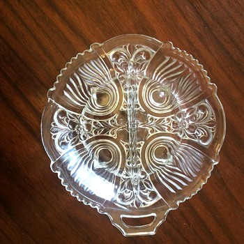 Round Divided Dish, one handle, Approx 7.5 inch diameter