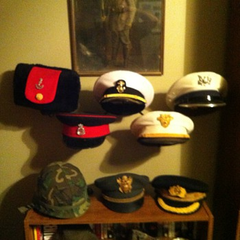 Military hat collection display