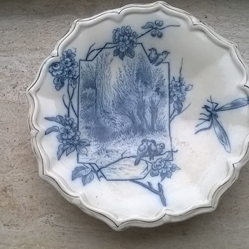 Old Three Footed Blue Transfer Print Shallow Bowl Flea Market Find