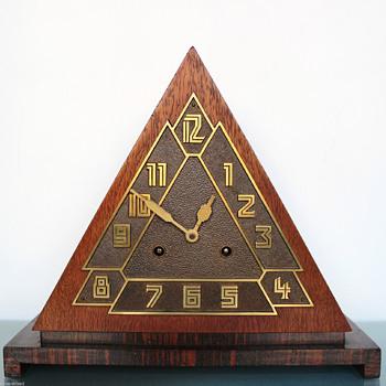 Remarkable 1930's German Triangular Deco Mantle Clock - Clocks