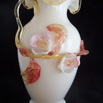 Victorian Stevens Williams Applied Flower Milk Glass Vase - Glassware