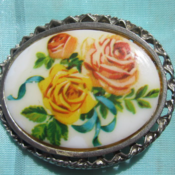 Transfere & hand painted Brooch