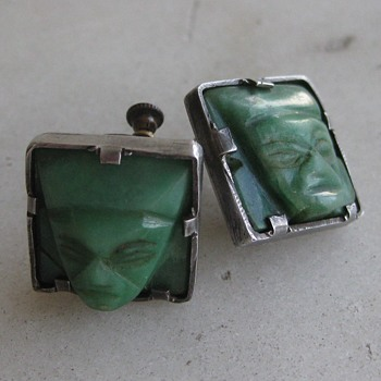 1940's Mexican sterling green stone earrings - Fine Jewelry