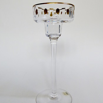 Kosta Candlestick with Gold~Signed &amp; Numbered~Designer? - Art Glass