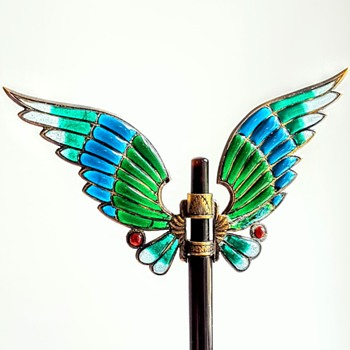 Art nouveau domed plique à jour wings hair ornament. Part 2. Kyratised! - Fine Jewelry