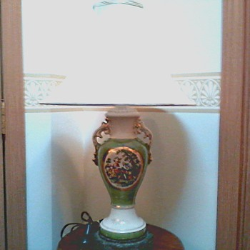 Green Luster Ware Lamp / Urn Style with Transfer Decoration and Gold Accents / Circa 1930's 40's