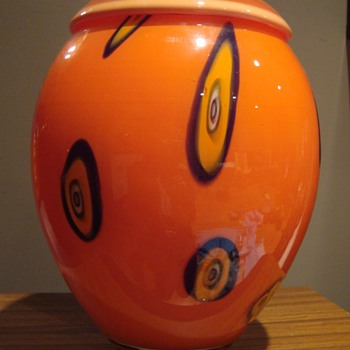 Very large and orange vase - Art Glass