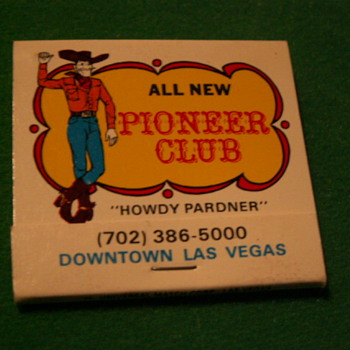 Vintage/Antique Pioneer Club Match Book ~ Las Vegas, Nevada (Fremont Street) - Tobacciana