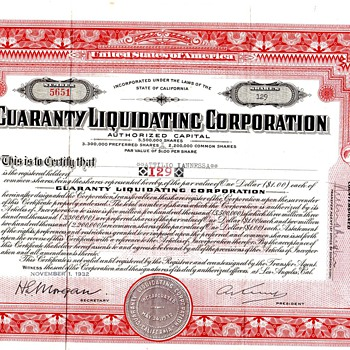 Guaranty Liquidation Corporation Common Stock Certificate from 1930 - US Paper Money