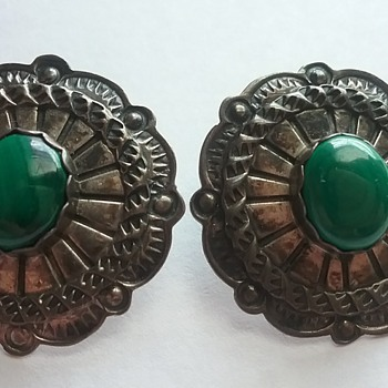 S. Dickens Sterling earrings with Malachite stone! Beautiful!