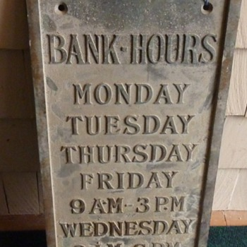 """Bank Hours"" Brass Signs"