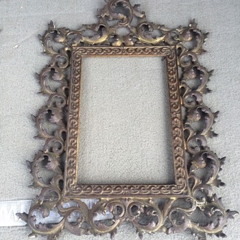 ANTIQUE VICTORIAN GOLD-GILT BRONZE PICTURE FRAME  - Visual Art