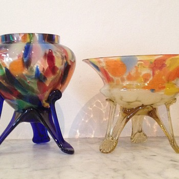 Two more Art Deco footed tripod (rocket foot) bowls - Art Glass
