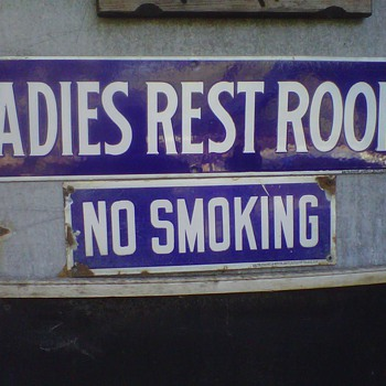 Porcelain No Smoking and Womens rest room signs