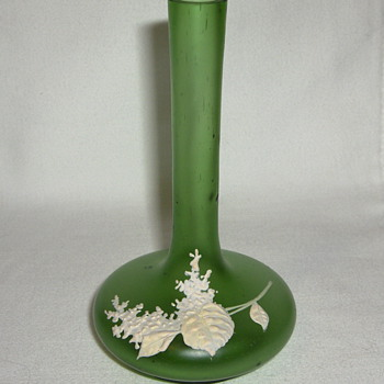 Small Satin Green Glass Bottle Vase & Mat Cream Enamel Bouquet - Art Glass
