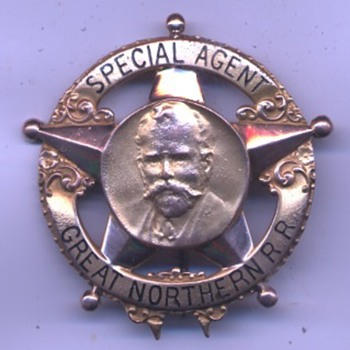 "Great Northern Railway Co. ""Hill"" Special Agent railroad police badge in 14K Gold"