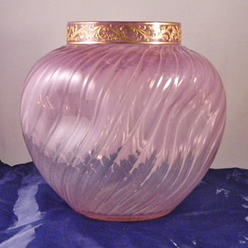 Early Loetz Heliotrope PN. I-1808, Dek I/4 Enamelled  Ribbed Vase c1890