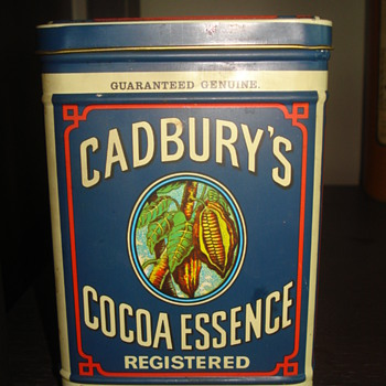 VINTAGE CADBURY'S COCOA METAL SIGN AND TIN - Advertising