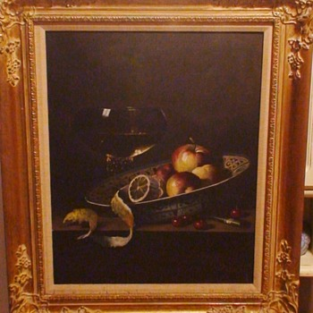 Still Life oil on canvas by Hungarian artist Andreas Gyula A. Bubarnik (b 1936 Hungary) in gold gilt wood frame.  - Visual Art