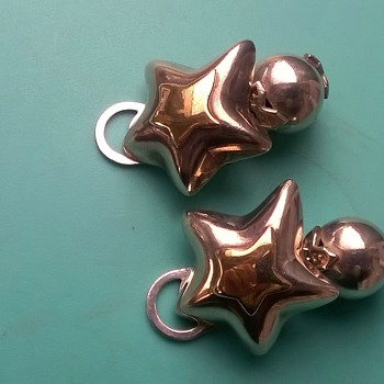 Somewhat Bizarre Silver & 14K Gold Clip Earrings, 1960s (?) Thrift Shop Find $1.00 - Fine Jewelry