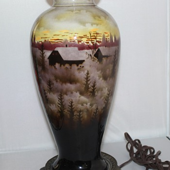 Hand Painted Czech Lamp - Art Pottery