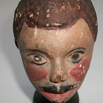 Antique Folk Art Sculpture of an African-American Boy