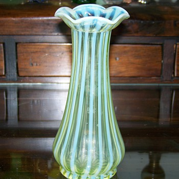 Jefferson Opalescent Stripe Vase ( Uranium Glass ) - Art Glass